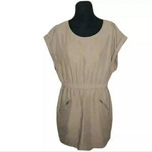 Divided H&M  Tan Zipper Pocket Dress 12